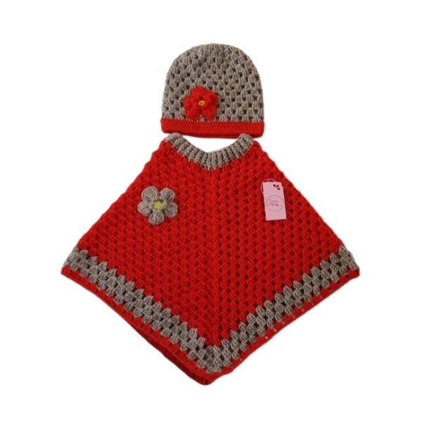 Háčkované pončo a čepice | Indoorfun.cz