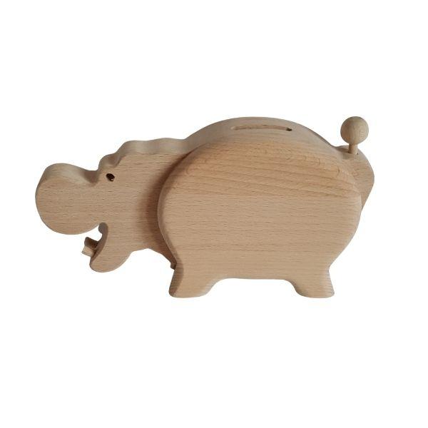 Dřevěná pokladnička - hroch
