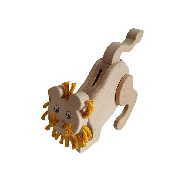 Dřevěná pokladnička - lev