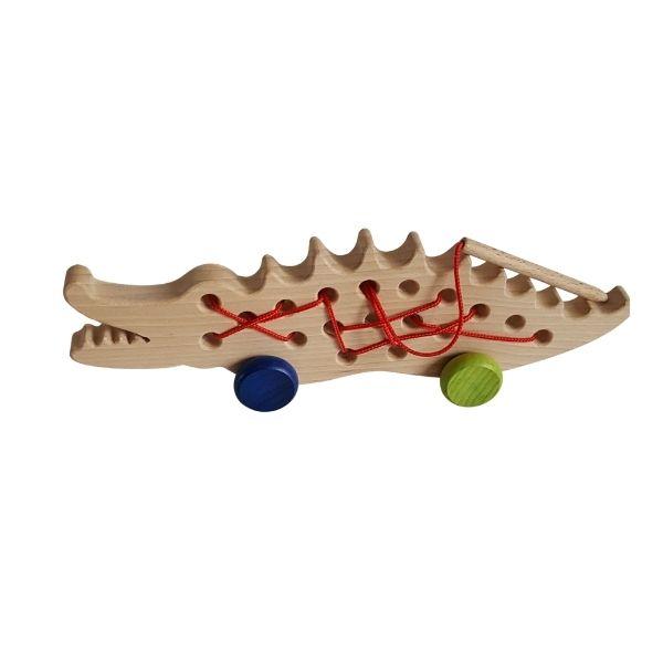 Dřevěná provlékačka - krokodýl