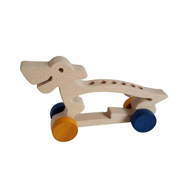 Dřevěný pes - držák na tužky